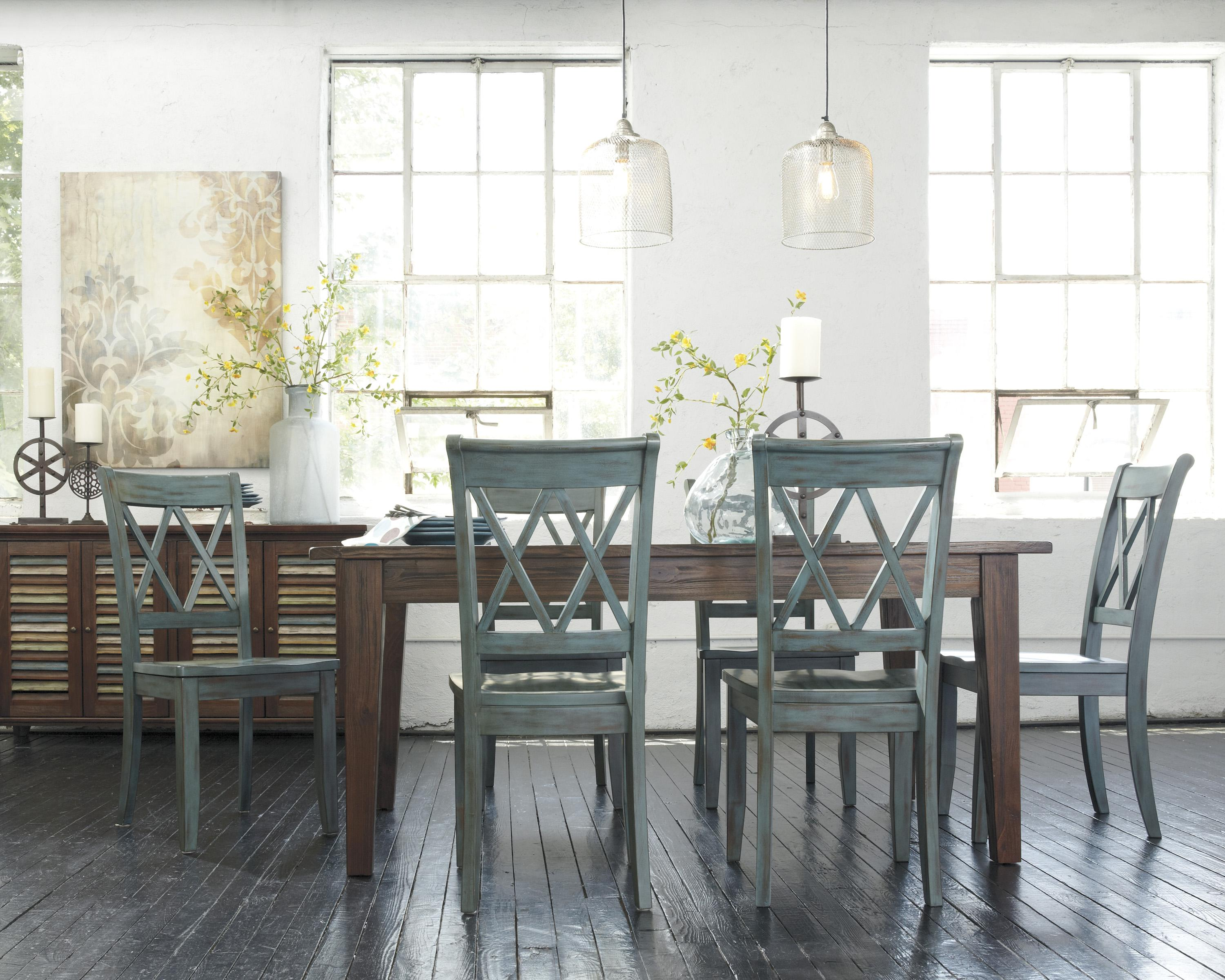 7-Piece Table Set with Antique Blue/Green Side Chairs by Signature ...