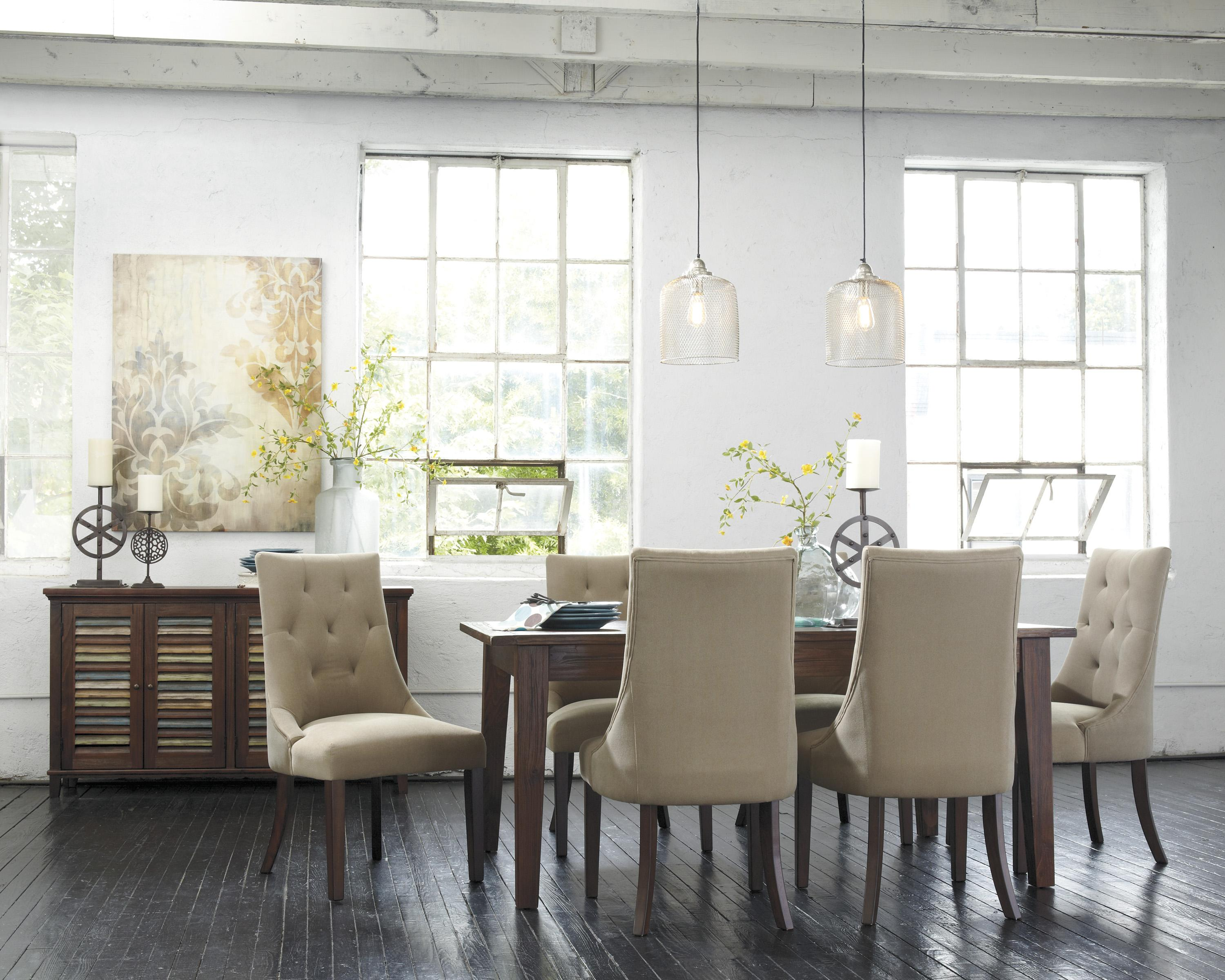 7-Piece Dining Set with Upholstered Side Chairs by Signature ...