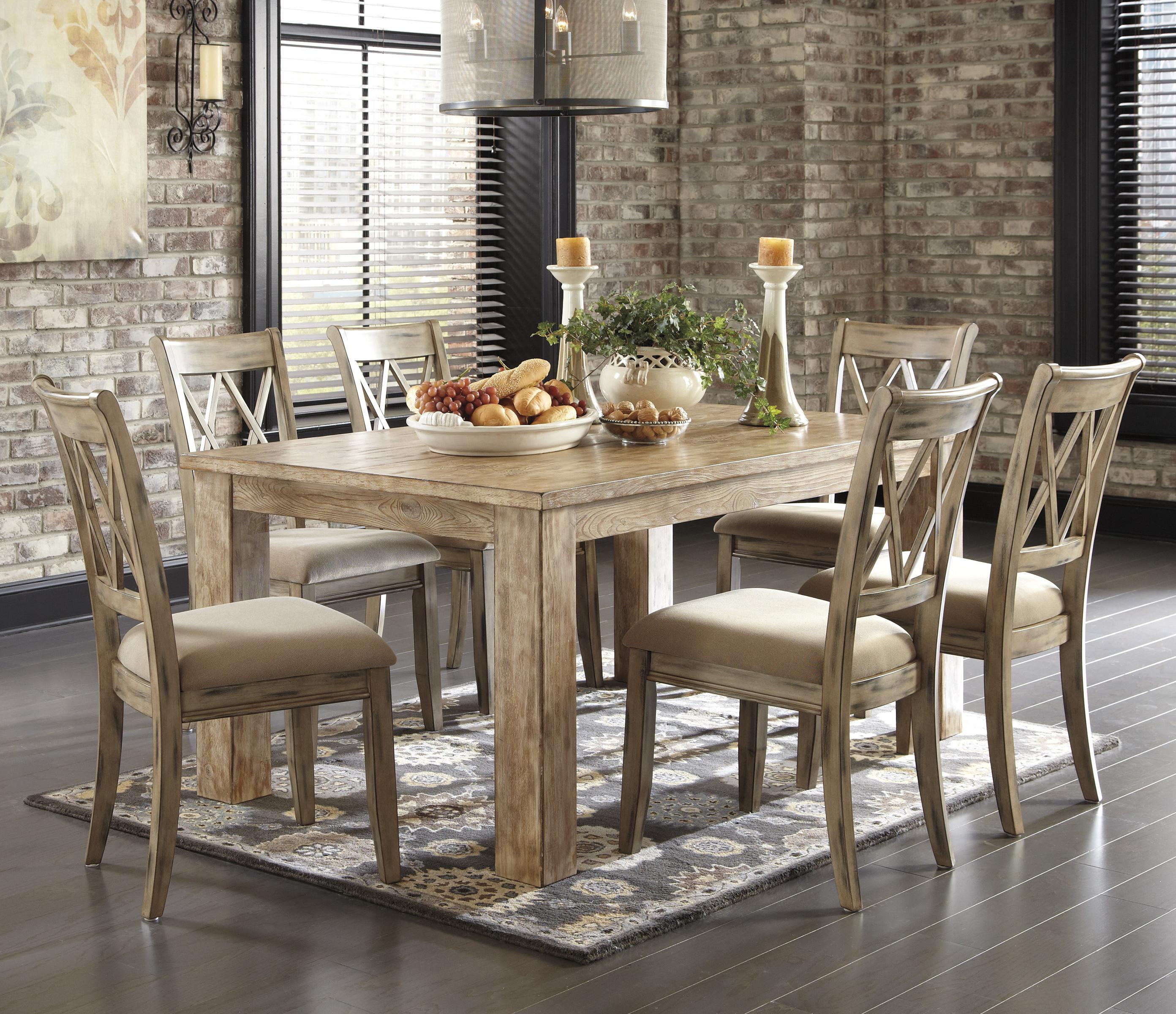 7 Piece Table Set With Antique White Chairs