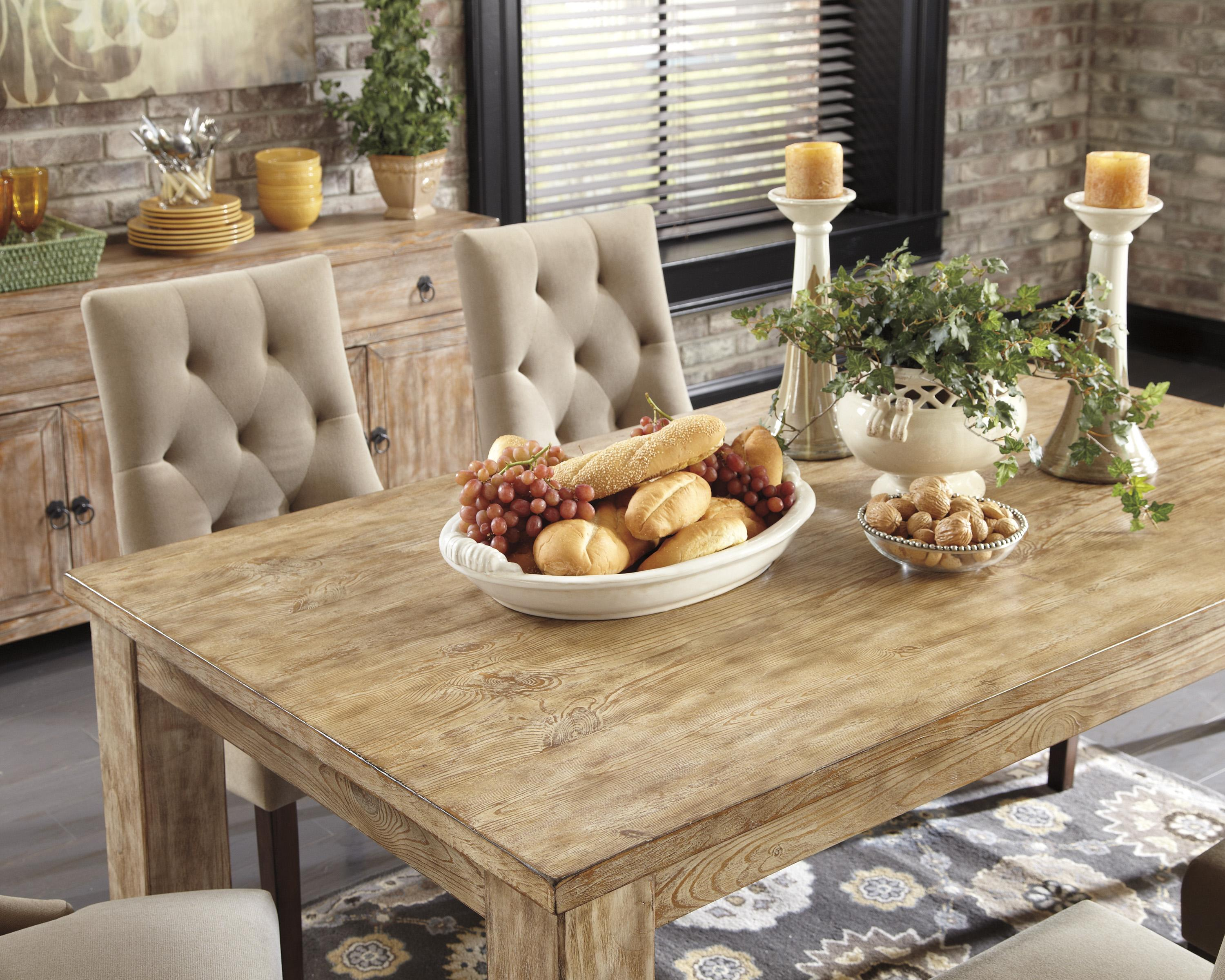chateau reclaimed wood rectangular dining table and 6 uphols