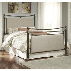 Signature Design by Ashley Nashburg Queen Metal Bed with Upholstered Panels