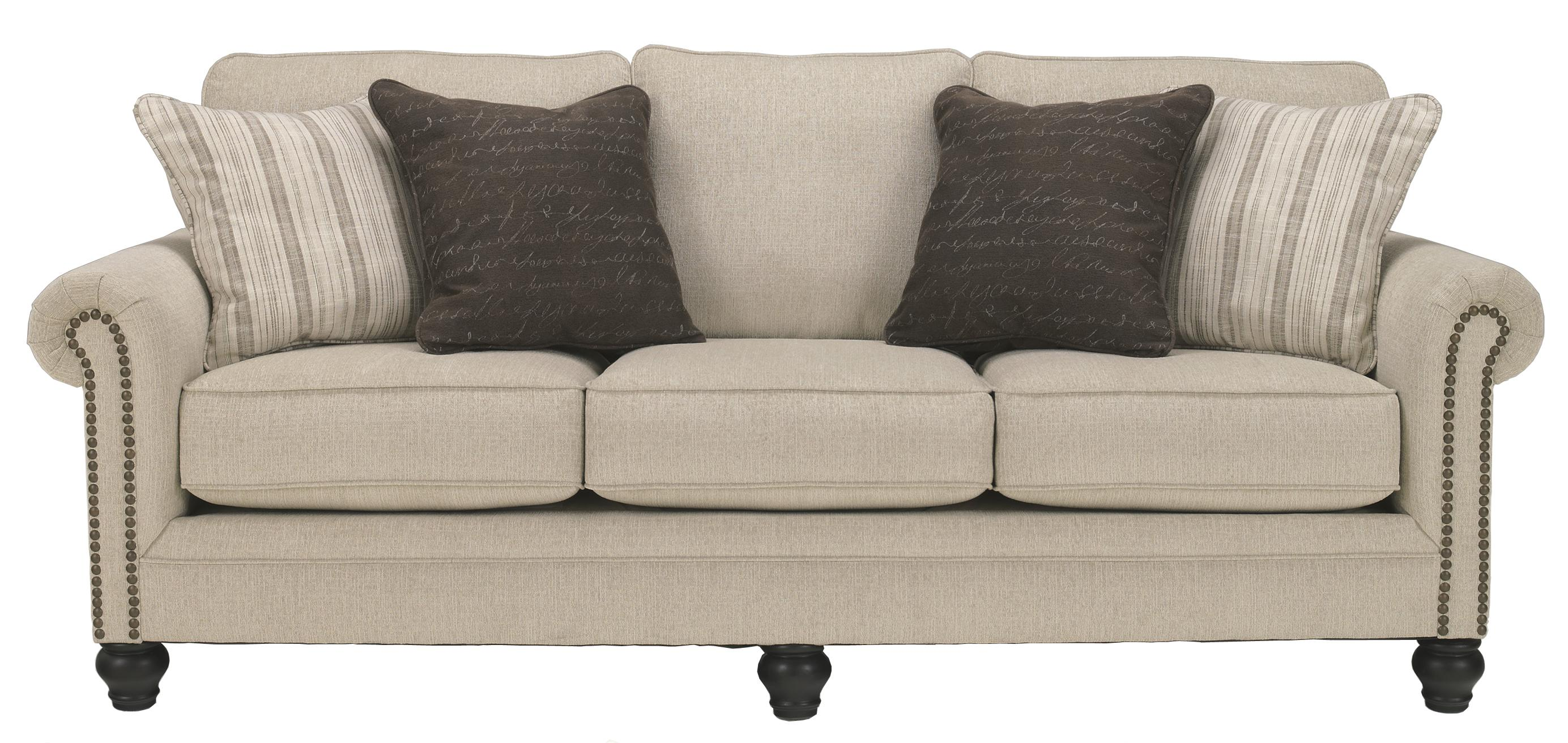 Transitional sofa with rolled arms with nail head trim by signature design by ashley wolf and - Furniture picture ...