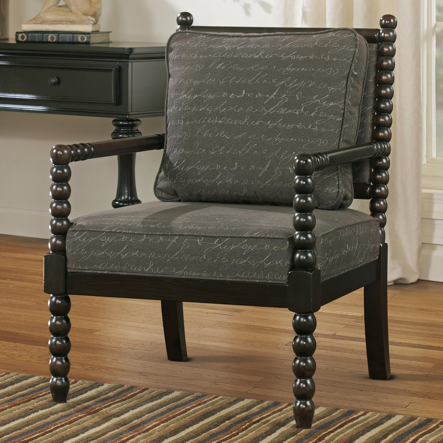 Charmant Accent Chair In Script Fabric With Spool Turned Legs And Arms