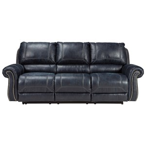Faux Leather Reclining Sofa with Rolled Arms & Nailhead Trim