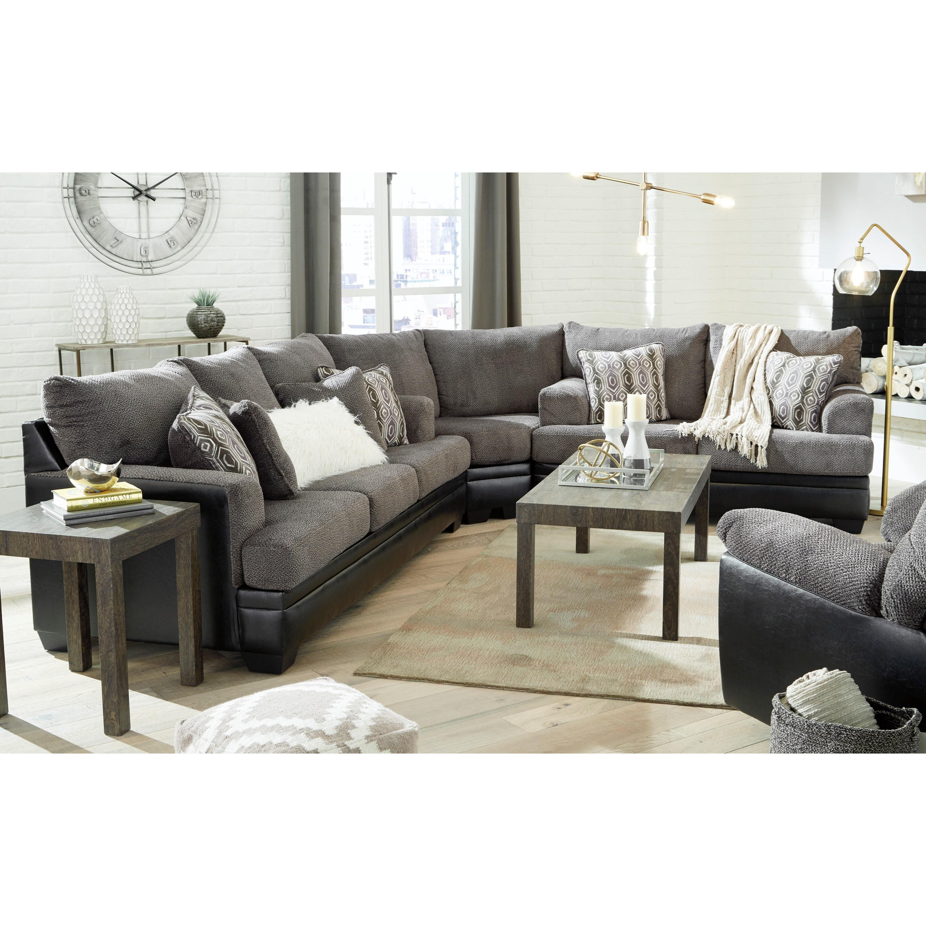 Contemporary Sectional With Sleeper Sofa By Signature Design By Ashley Wolf Furniture