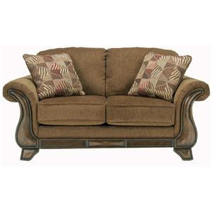 Loveseat with Exposed Faux Wood Detail