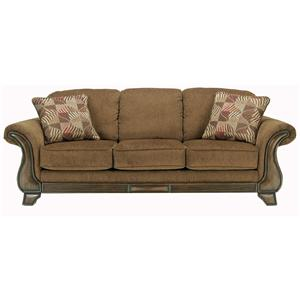 Sofa with Flared Arms & Exposed Wood