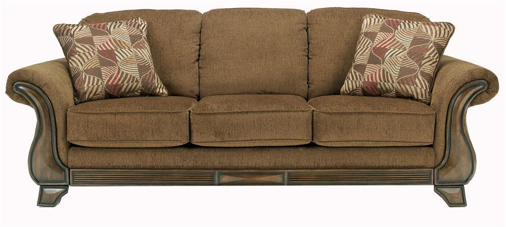 Queen Sofa Sleeper With Flared Arms Amp Exposed Faux Wood By Signature Design By Ashley Wolf And