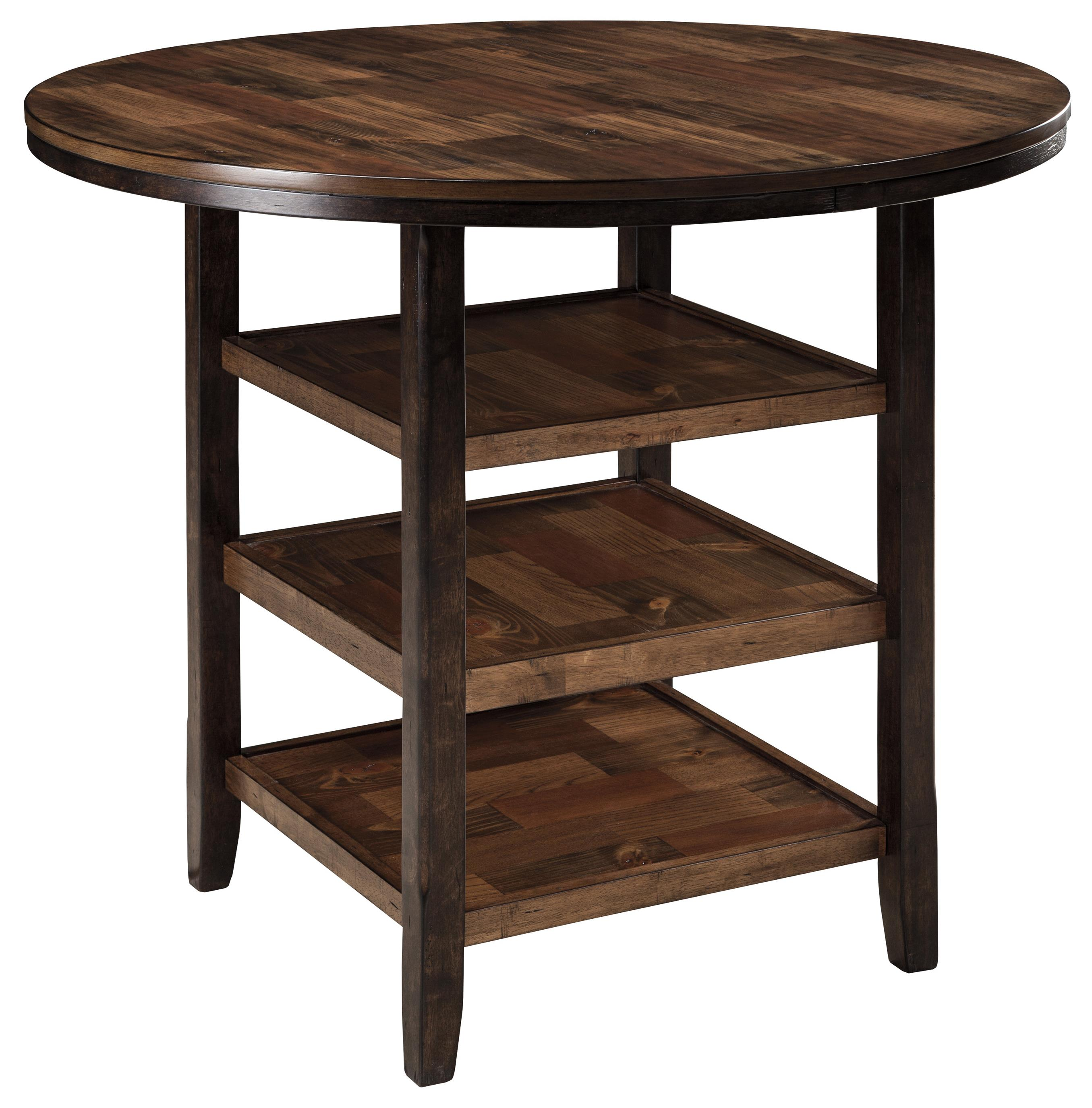 Round Dining Room Counter Table With 3 Shelves U0026 Butcher Block Inlay