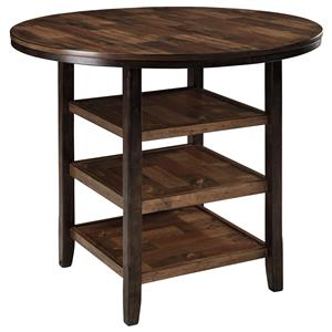 Round Dining Room Counter Table with 3 Shelves & Butcher Block Inlay