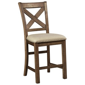 Upholstered Barstool with X-Back