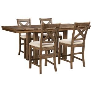 5-Piece Rectangular Extension Counter Table Set