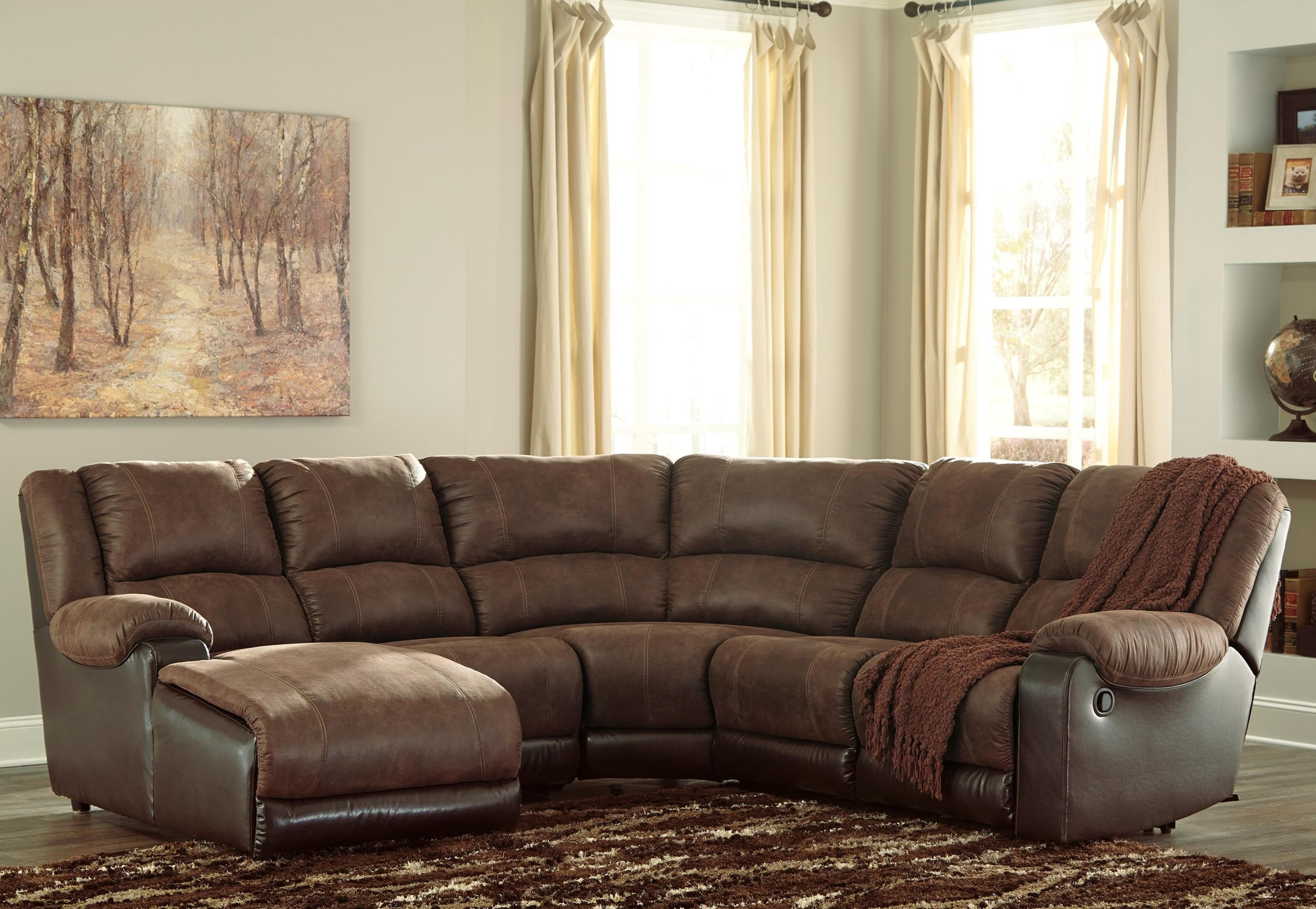 Faux Leather Reclining Sectional With Chaise By Signature