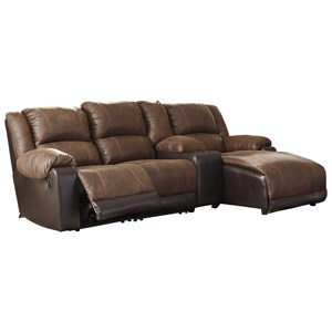 Reclining Chaise Sofa with Storage Console