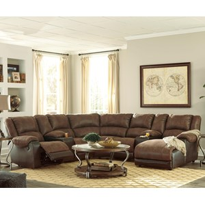 Faux Leather Reclining Sectional with 2 Consoles & Chaise