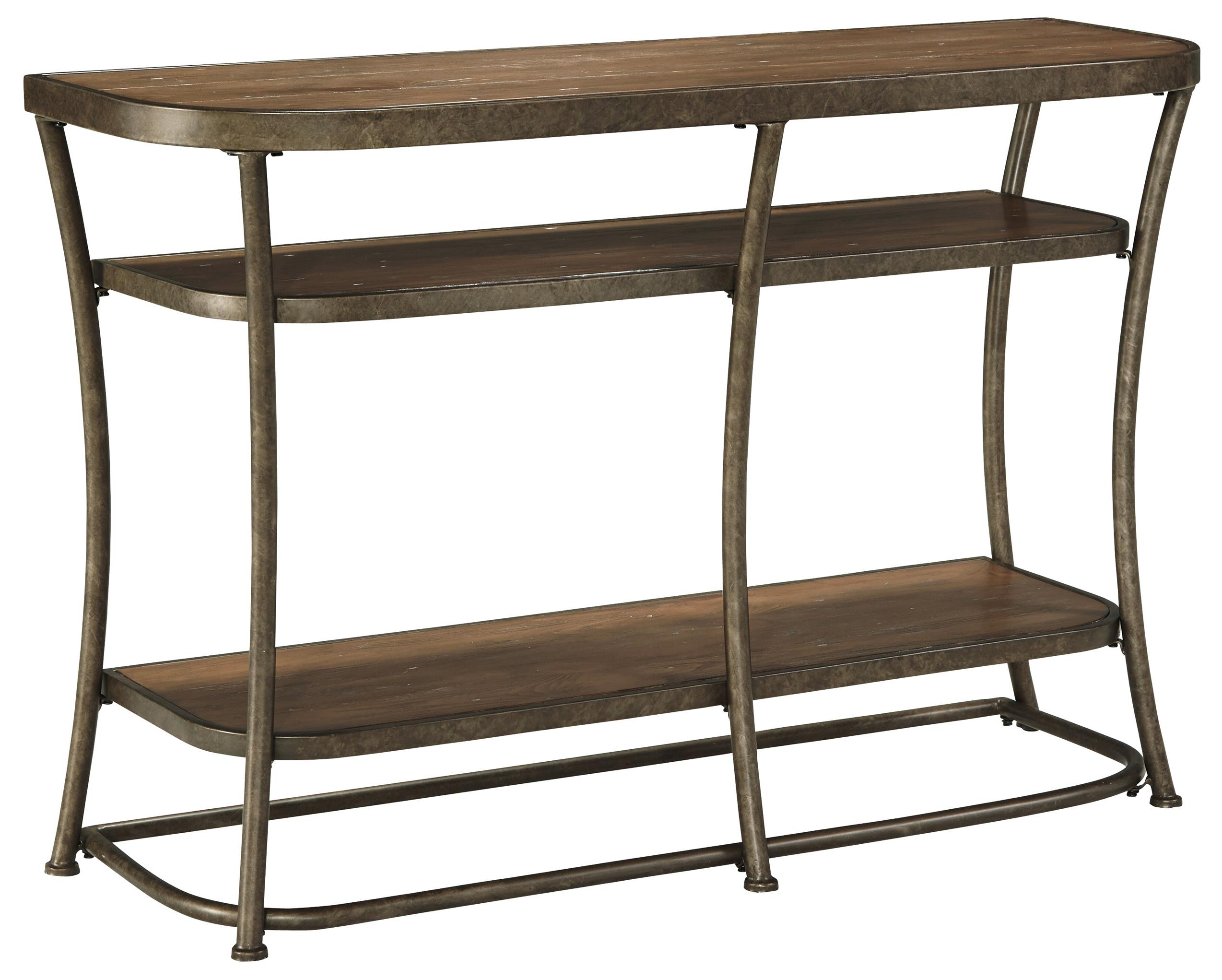 Rustic Metal Frame Sofa Table with Distressed Pine Top & Shelves