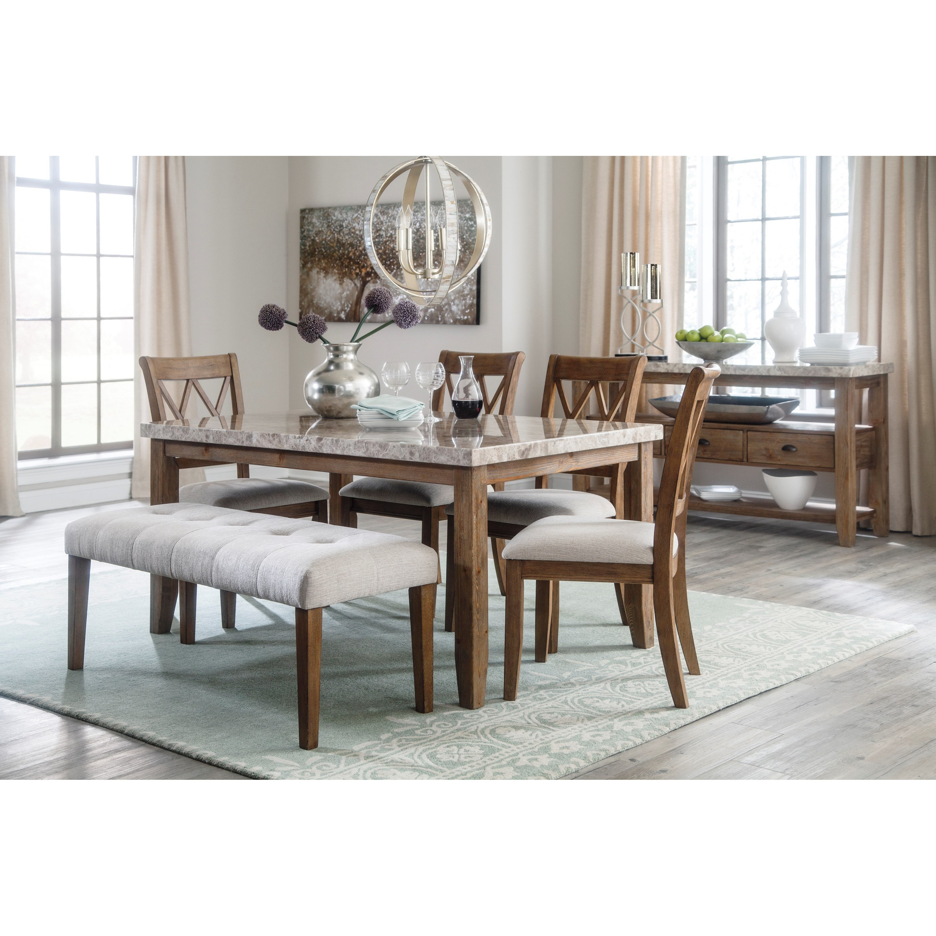 Large Upholstered Dining Room Bench With Linen Like Fabric Tufted Seat