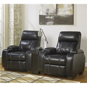Signature Design by Ashley Nebula - Black 3-Piece Theater Seating Group w/ 2 Recliners
