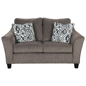 Transitional Loveseat with Flared Arm