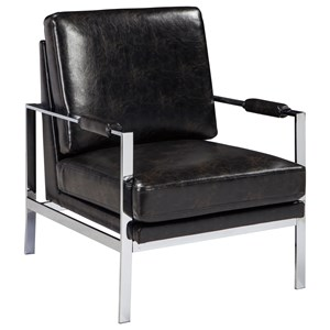 Chrome Finish Metal Arm Accent Chair with Black Faux Leather