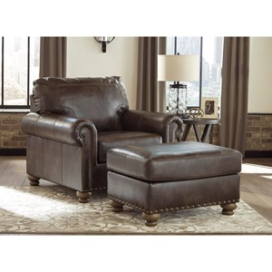 Traditional Chair & Ottoman with Nailhead Trim