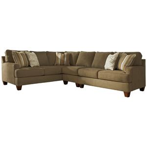 Signature Design by Ashley Nisland - Wicker 3-Piece Sectional with Right Loveseat