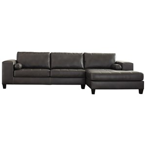 Contemporary Faux Leather Sectional with Right Chaise