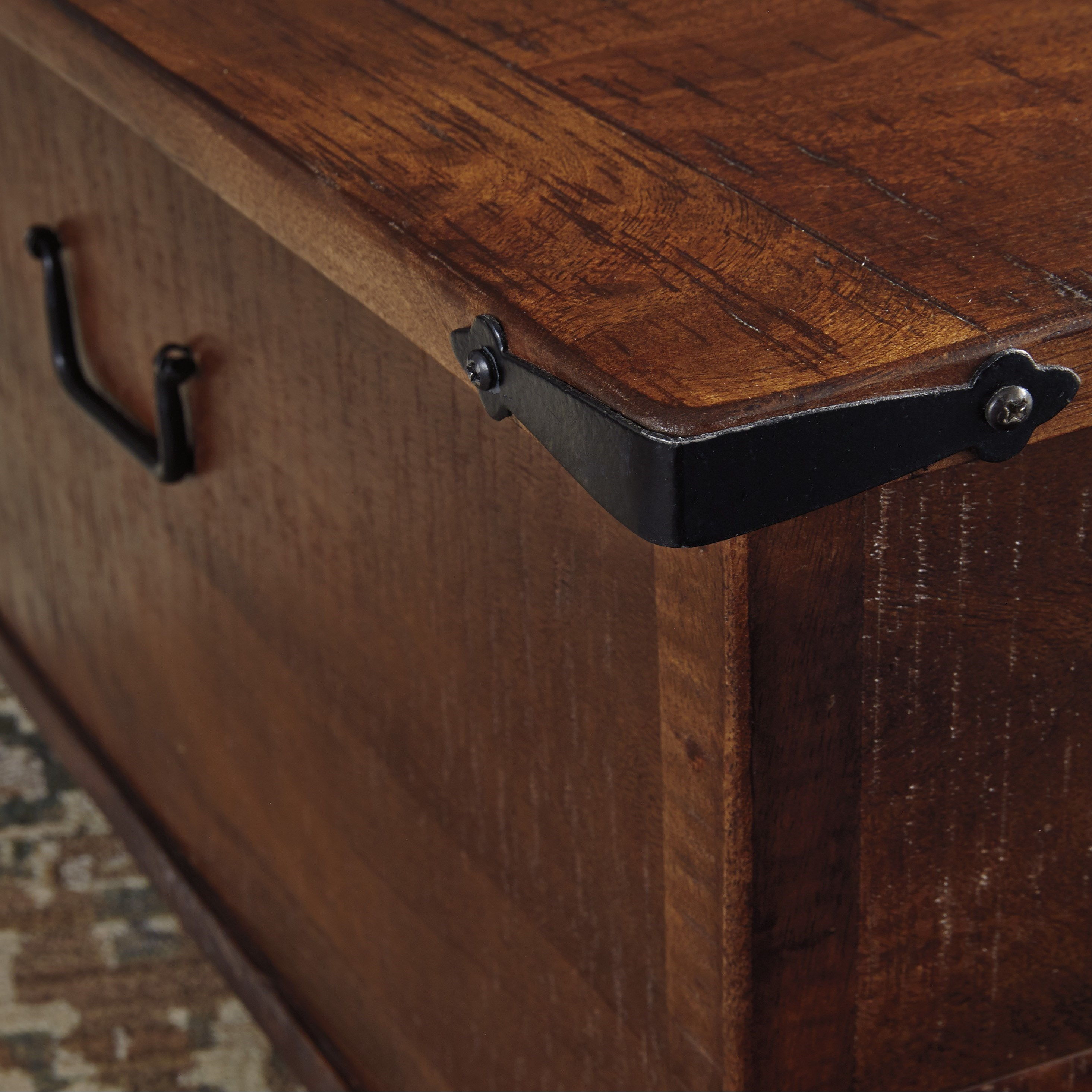 Rustic Storage Cocktail Table with Hinged Top and Industrial