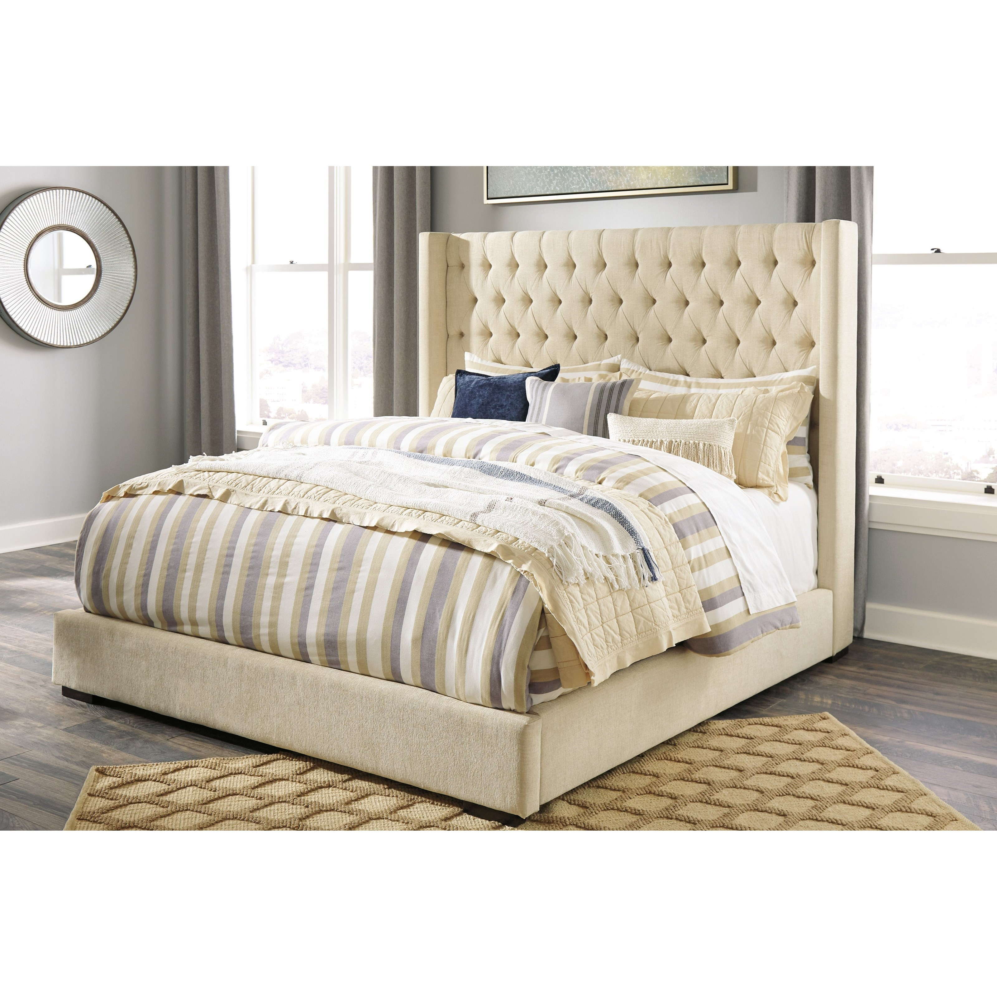 King Upholstered Tufted Wing Bed By Signature Design By
