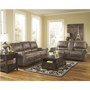 Signature Design by Ashley Oberson - Gunsmoke Reclining Living Room Group