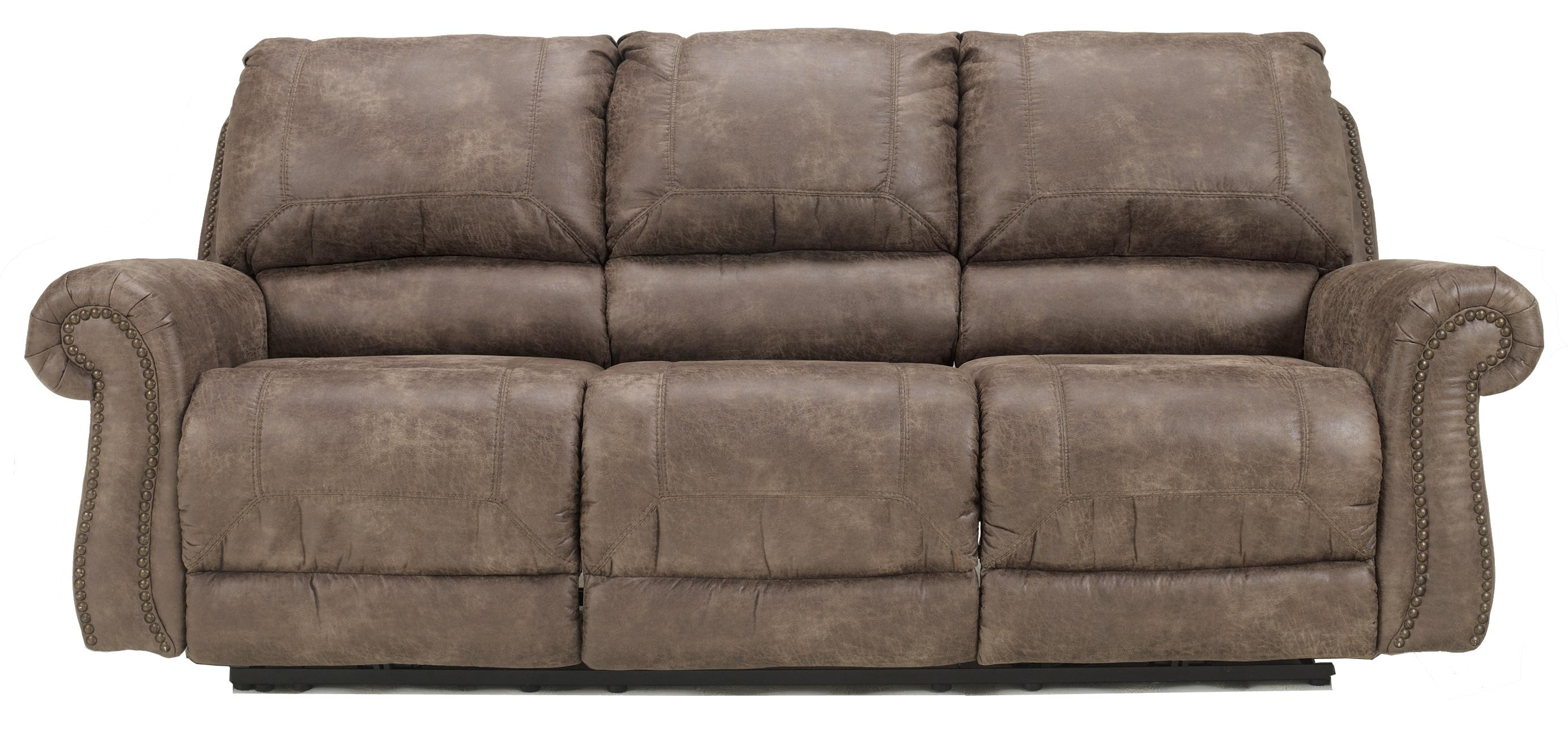 Reclining Faux Leather Sofa With Rolled Arms U0026 Nail Head Trim