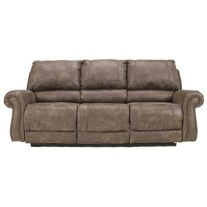 Reclining Faux Leather Sofa with Rolled Arms & Nail Head Trim