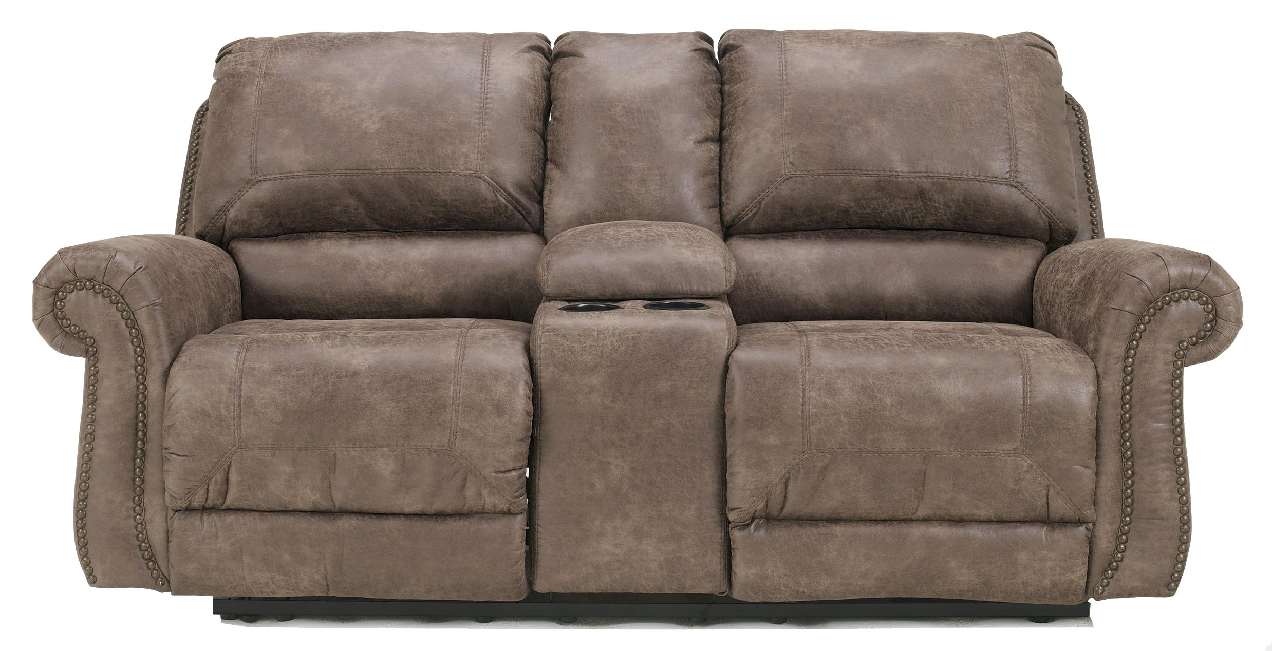 Faux Leather Double Reclining Power Loveseat W Console By