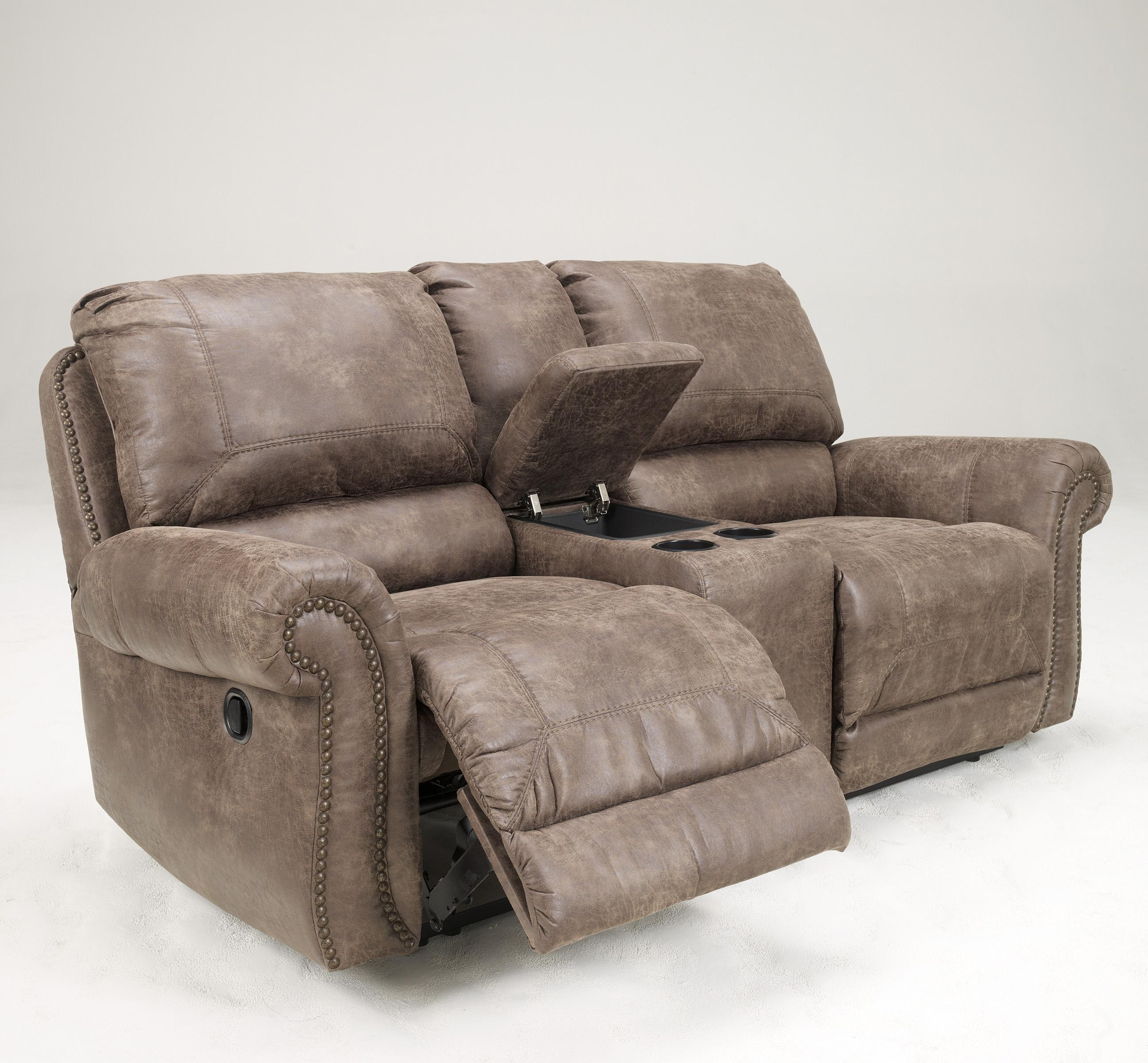 Faux Leather Double Reclining Power Loveseat W Console By Signature Design By Ashley Wolf And