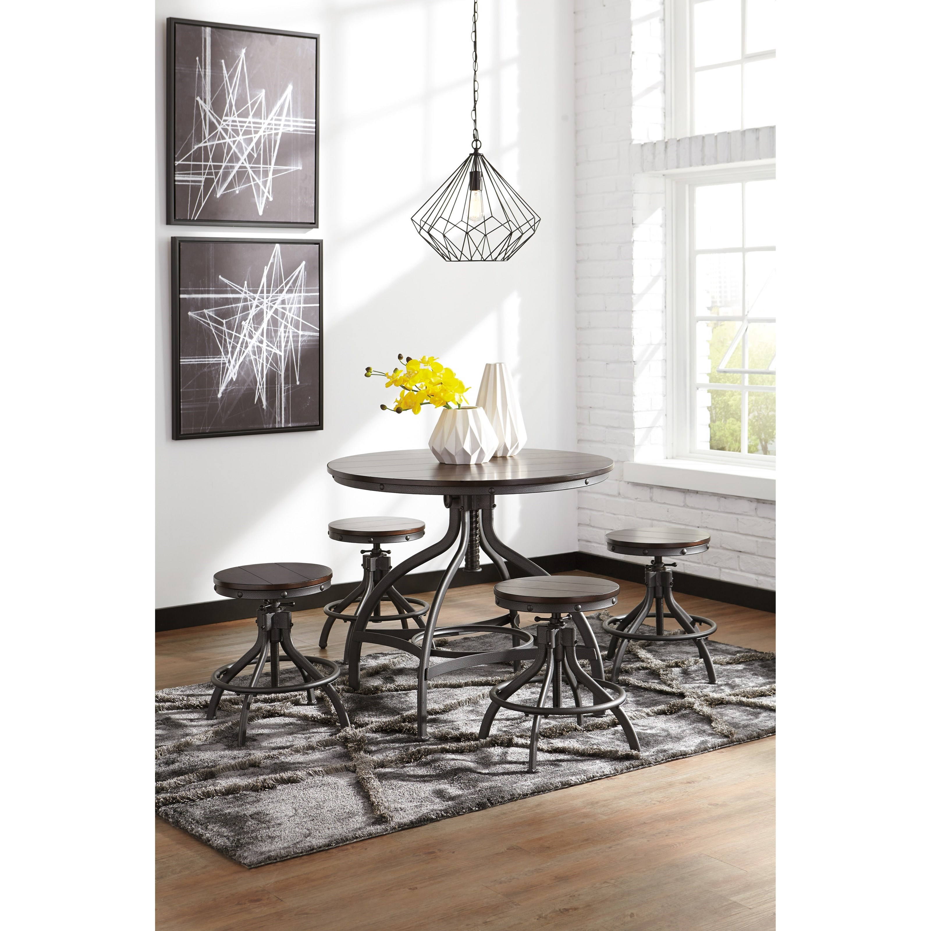 Counter Table Set Part - 40: Adjustable 5-Piece Dining Room Counter Table Set