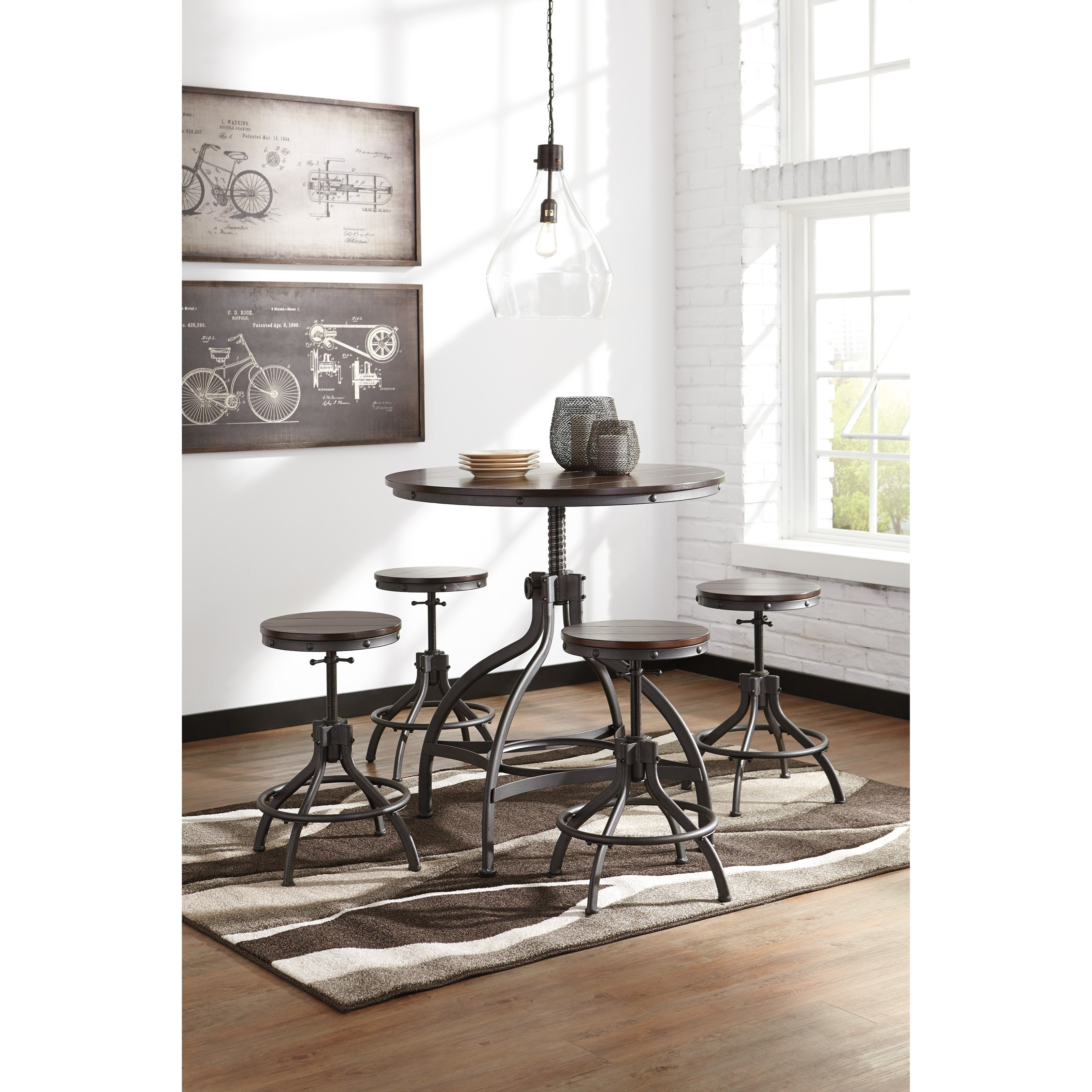Dark Wood Finish Modern Dining Room W Optional Items: Adjustable 5-Piece Dining Room Counter Table Set By