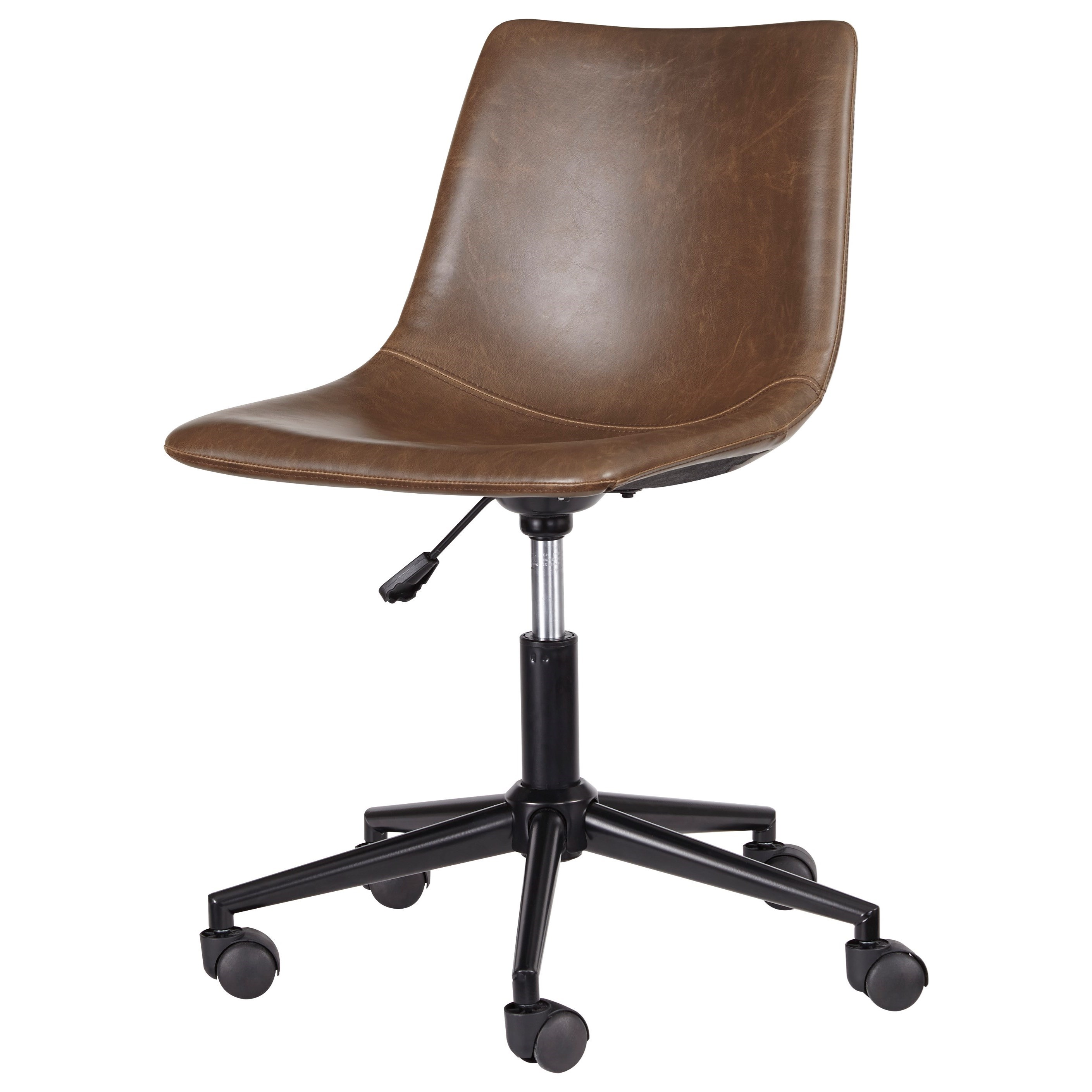 Home Office Swivel Desk Chair in Brown Faux Leather