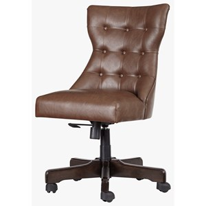 Home Office Swivel Desk Chair in Faux Brown Leather