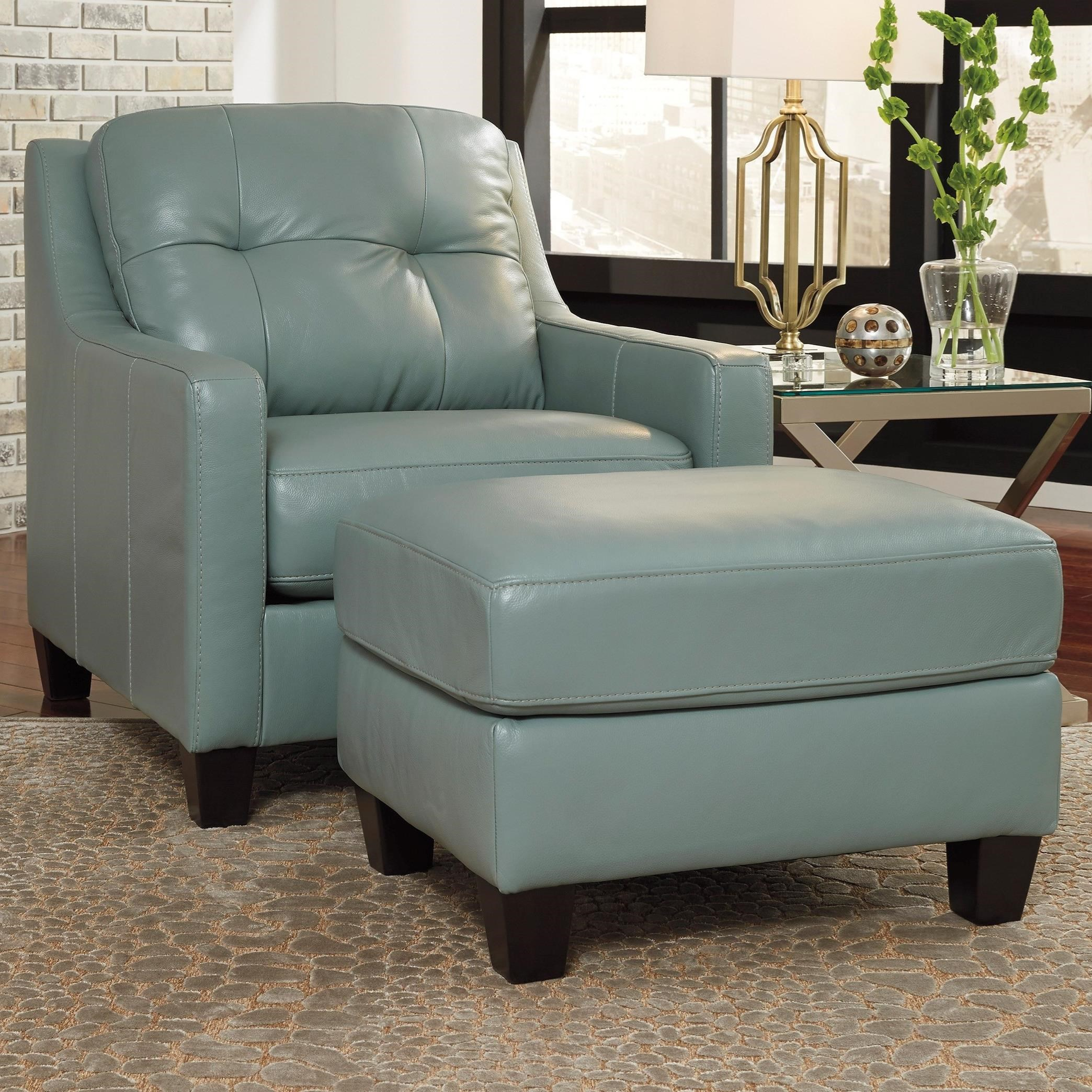 Contemporary Leather Match Chair Ottoman By Signature Design By Ashley Wolf And Gardiner