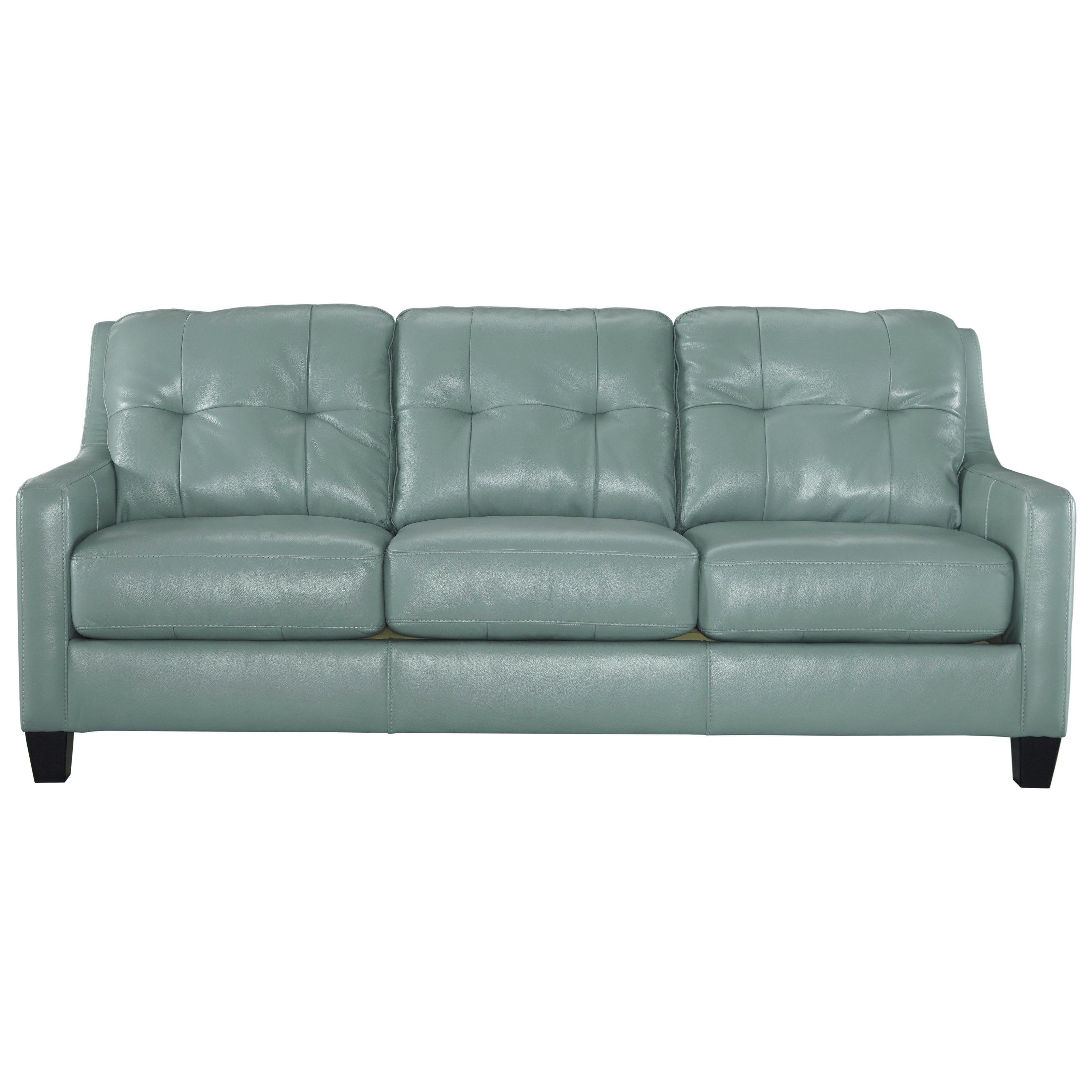 Contemporary Leather Match Sofa With Tufted Back Track Arms By
