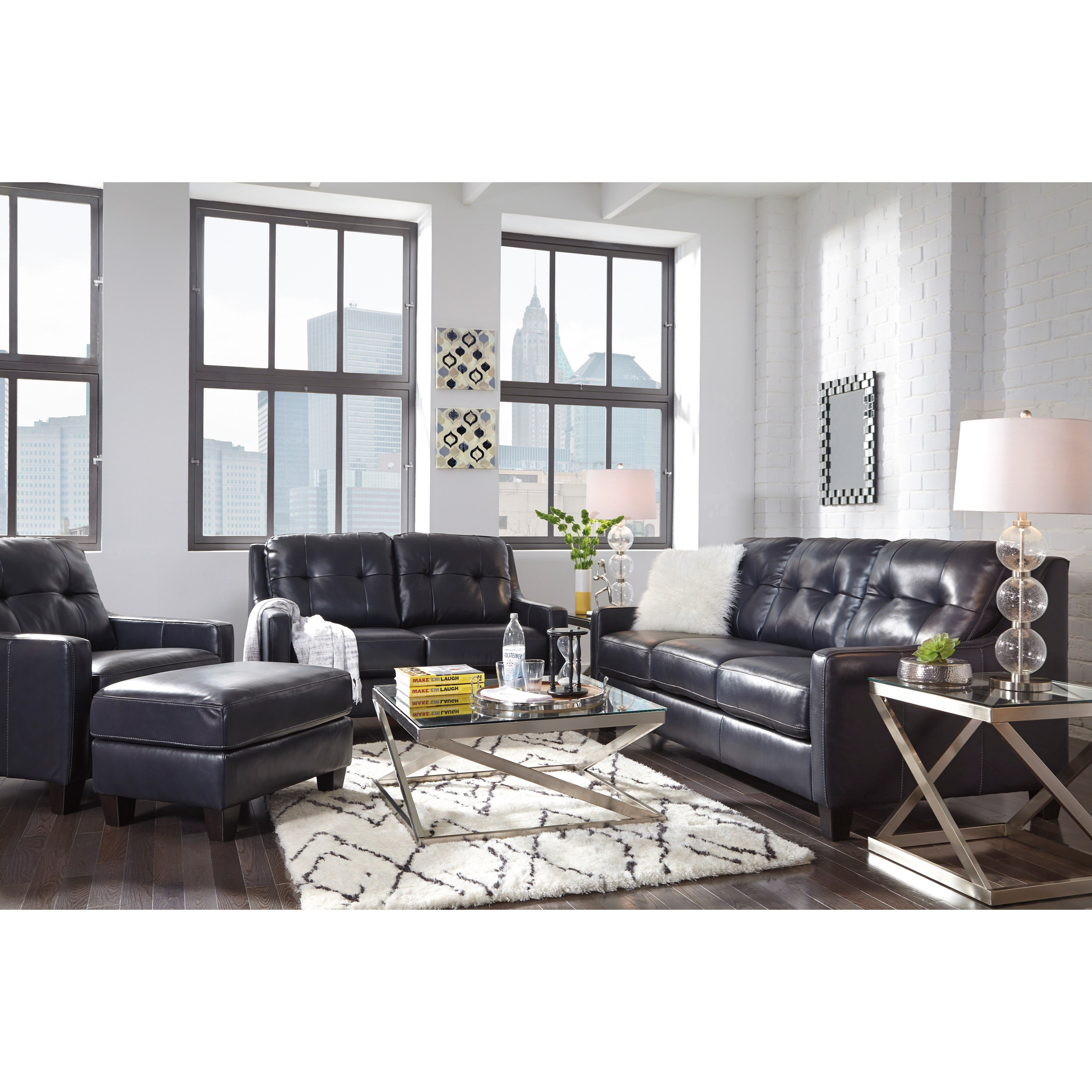 Contemporary Leather Match Sofa With Tufted Back Track Arms By  ~ Sofa And Matching Loveseat