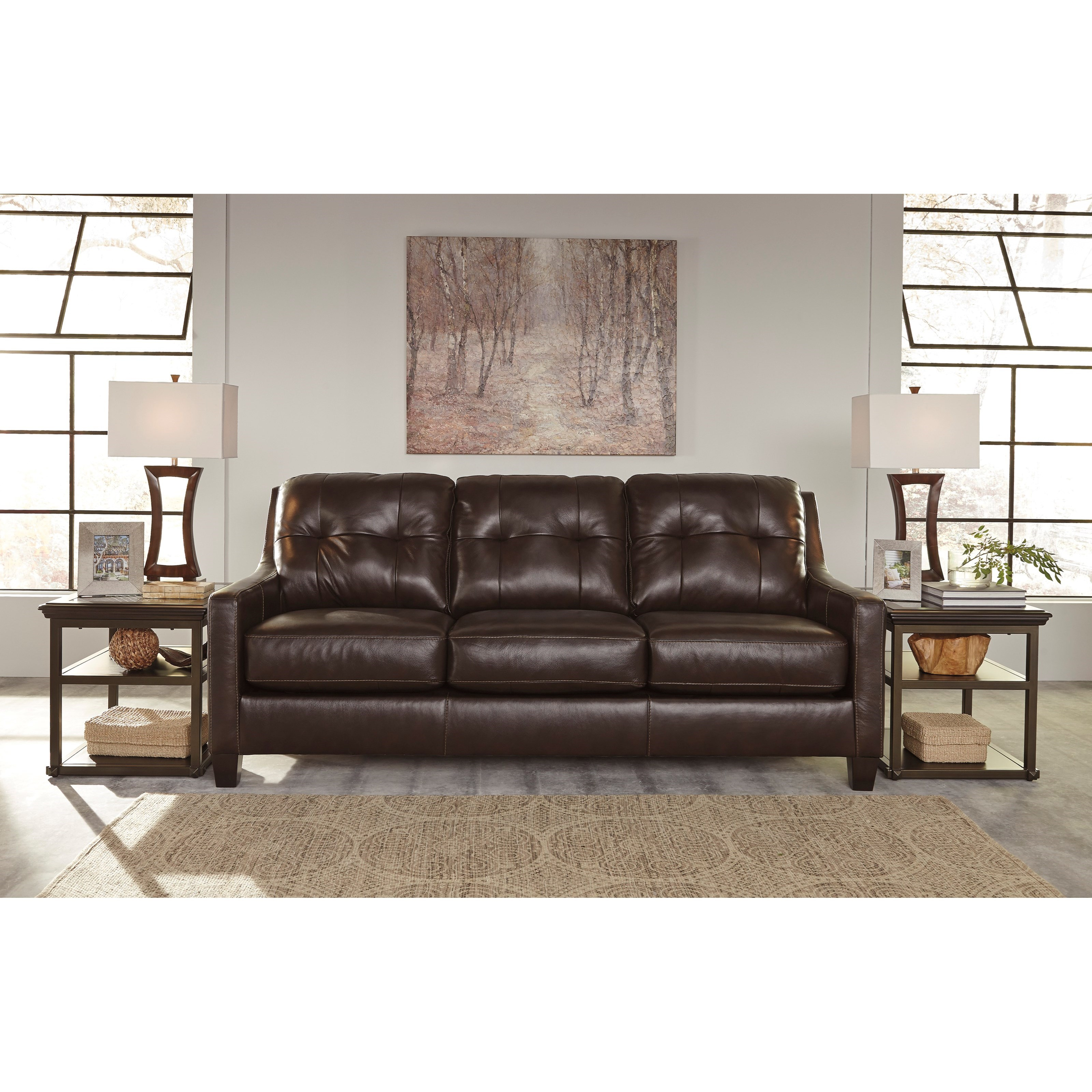 Contemporary Leather Match Sofa with Tufted Back & Track Arms by