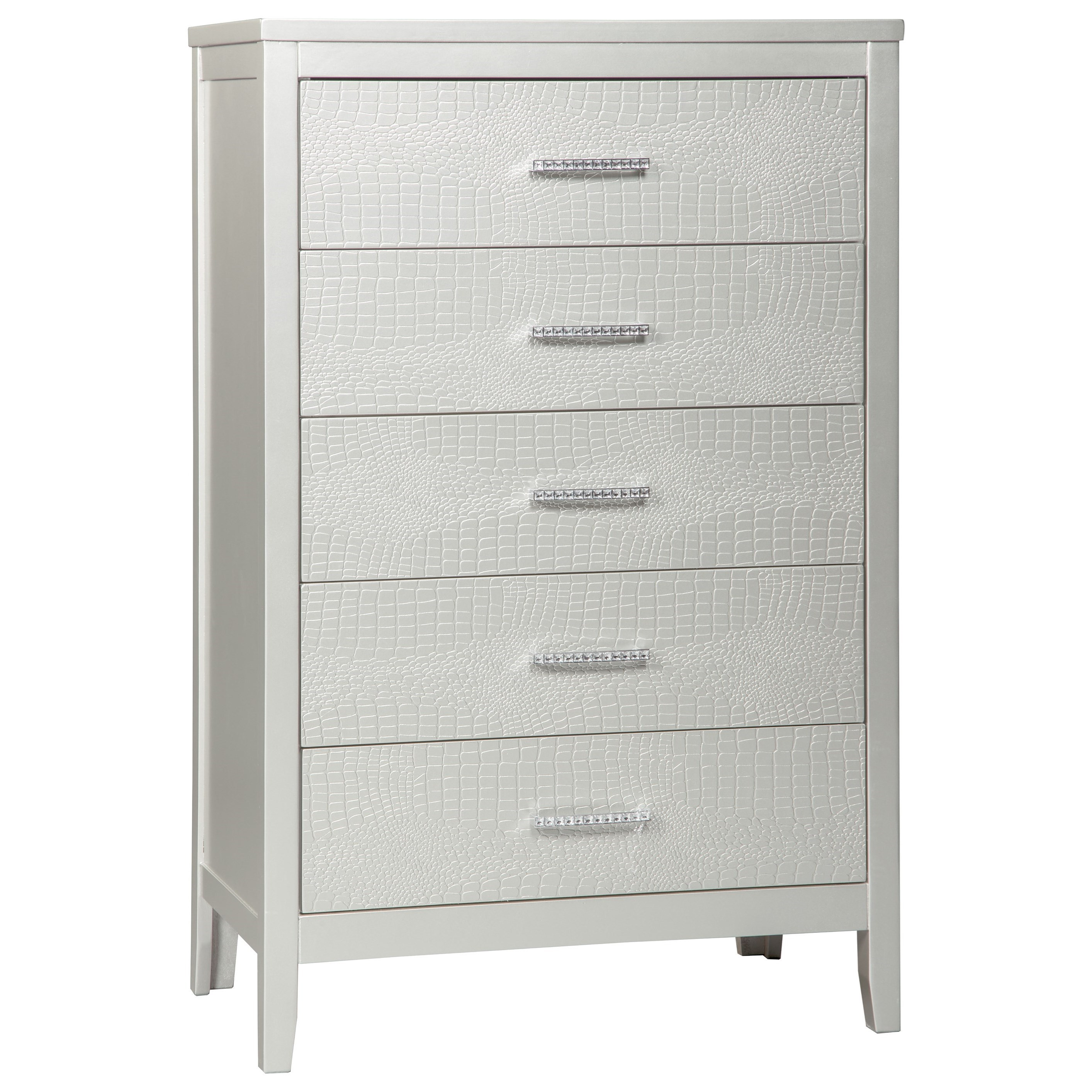 Glam 5-Drawer Chest with Faux Crystal Drawer Pulls
