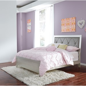 Glam Full Panel Bed with Faux Crystal Button Tufting