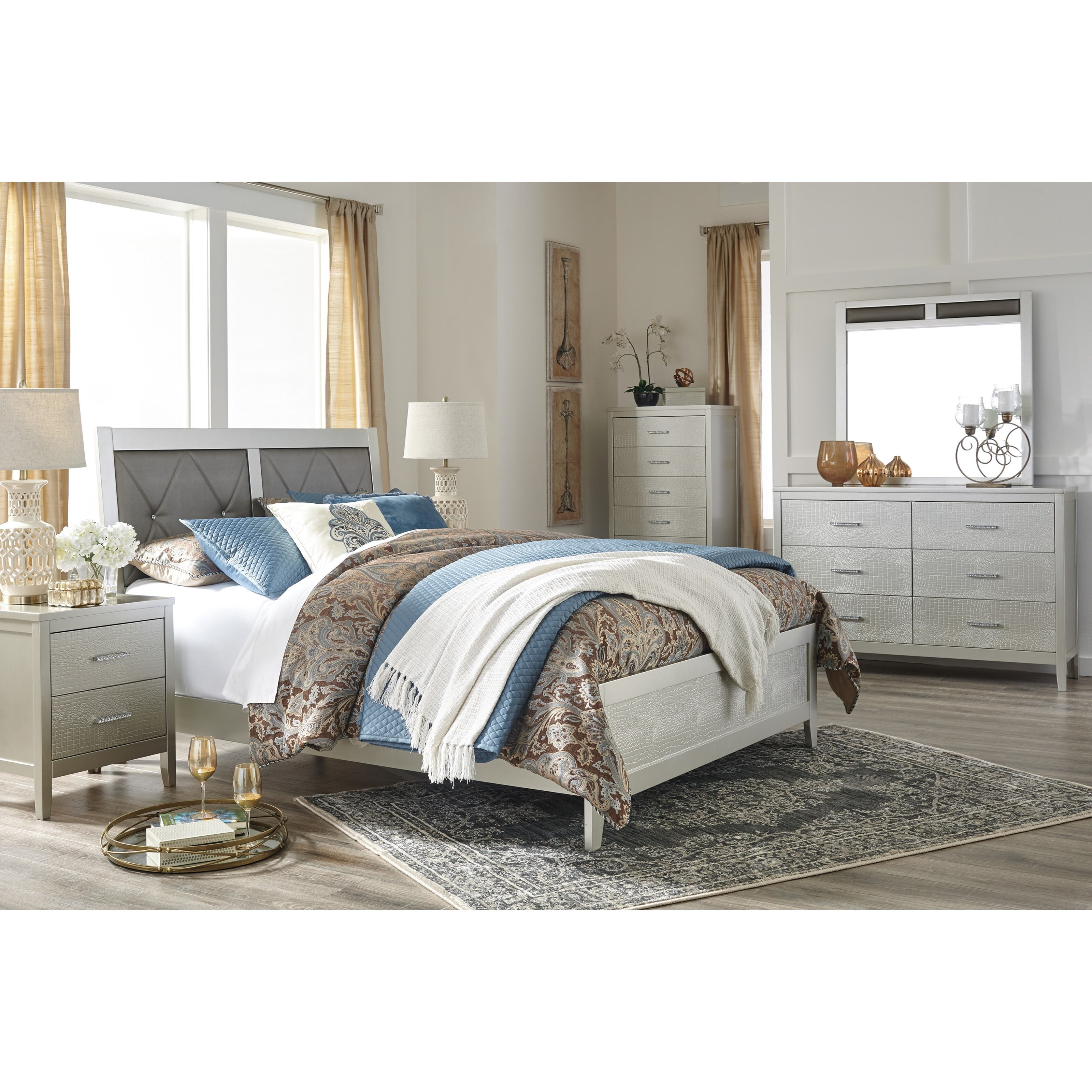 bedroom linen set glam panel bed with faux button tufting by 10549