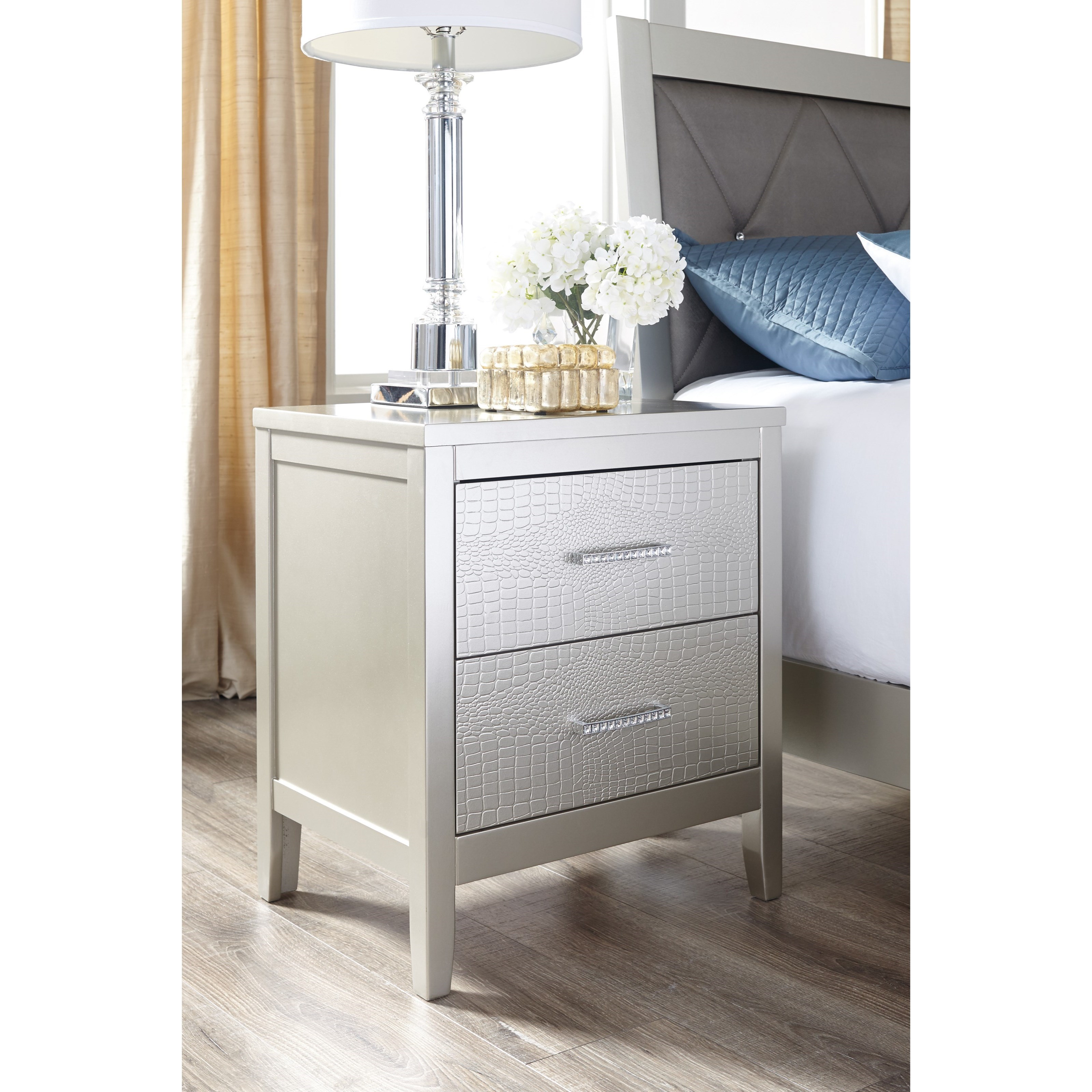 Glam 2 Drawer Nightstand With Faux Crystal Drawer Pulls By
