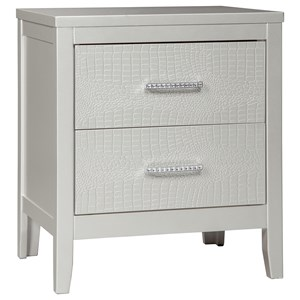 Glam 2-Drawer Nightstand with Faux Crystal Drawer Pulls