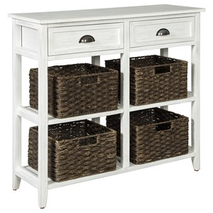 Console Sofa Table with 4 Woven Baskets