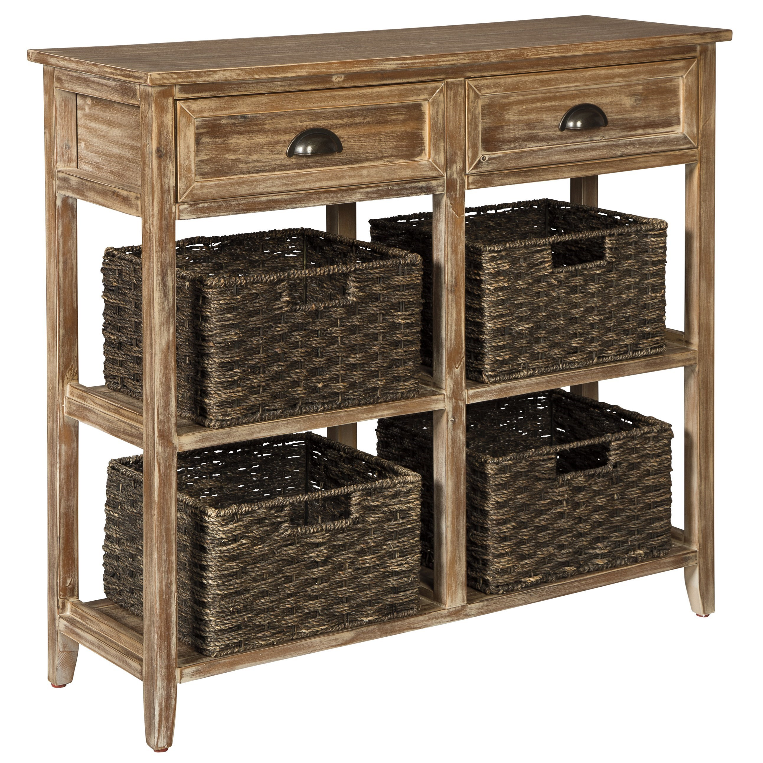 Console Sofa Table With 4 Woven Baskets By Signature Design By