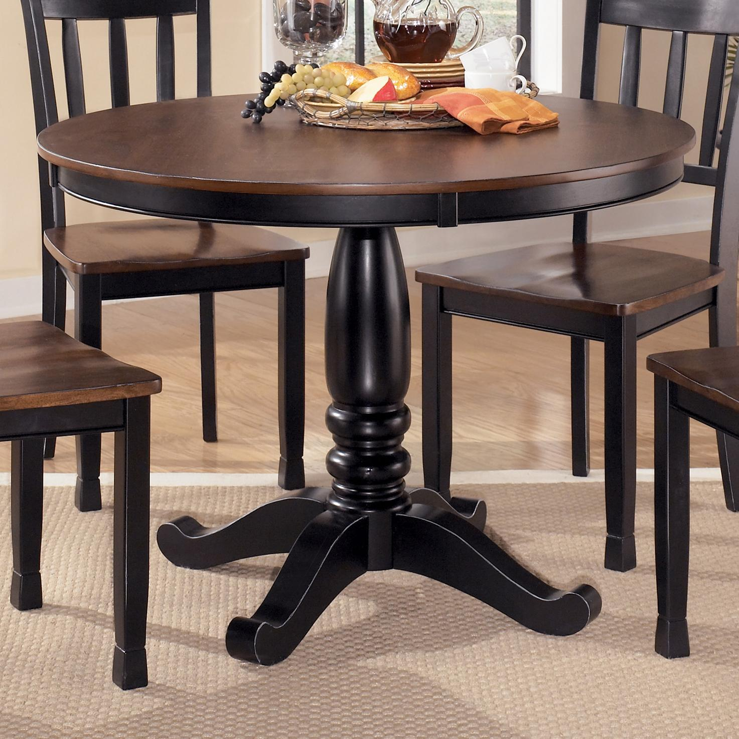 Round dining room table with turned pedestal base by for 2 tone dining room tables